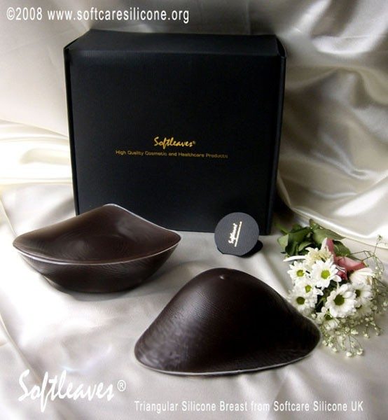 Softleaves Triangular Silicone Breasts in the Dark Skin Colour size 8 ( XL )